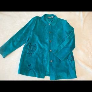 Chicos Design Womens Size 3 Turquoise Suede Jacket